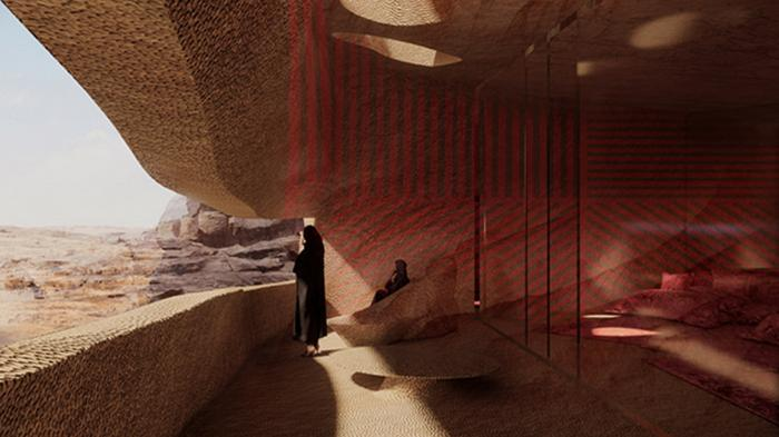 На грани природы и искусства. В Саудовской Аравии в скалах строят отель: видео